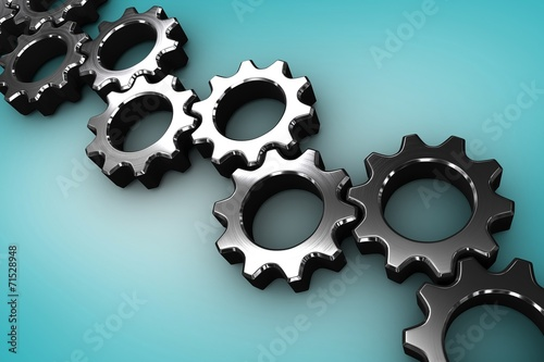 canvas print picture Composite image of many chrome cogs and wheels