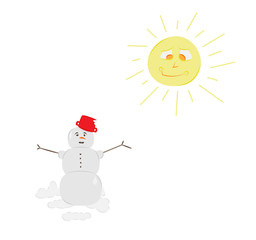 snow man and sun