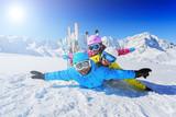 Skiing, winter, snow - family enjoying winter vacation