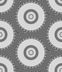 Striped Circles Geometric Optical Black White Vector Seamless