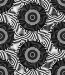 Striped Circles Geometric Optical Black White Vector Seamless