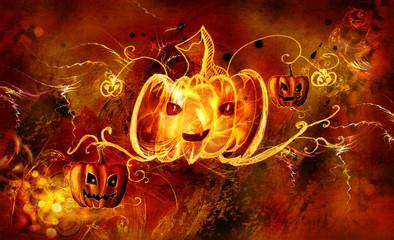 Decorative pattern pumpkin glowing on a black background