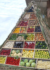 A pyramid of fruits and vegetables