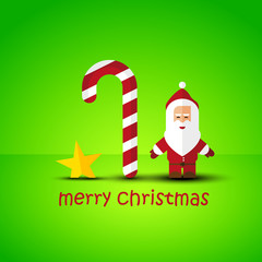 Modern flat Christmas background with Santa Claus
