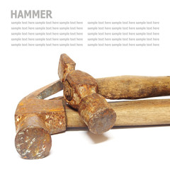 Old rusty hammer work tools isolated on white background