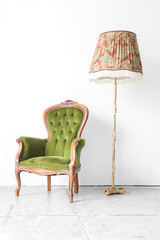 Armchair with desk lamp