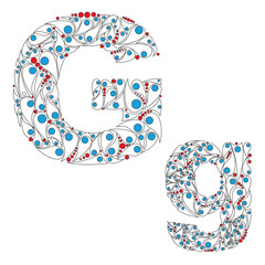 Letter G. Bright element alphabet. ABC element in vector.