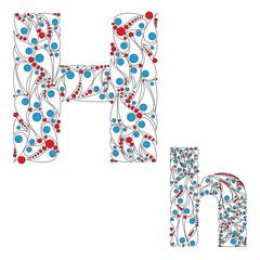 Letter H. Bright element alphabet. ABC element in vector.