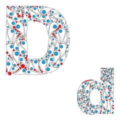 Letter D. Bright element alphabet. ABC element in vector.