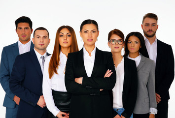 Group of businesspeople standing over white background