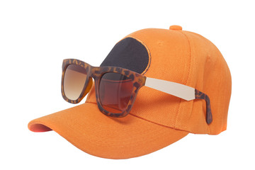 sunglasses with cap on white