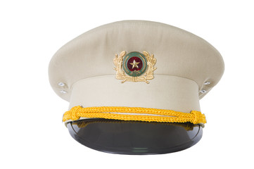 police hat, against  of the Vietnam police officer