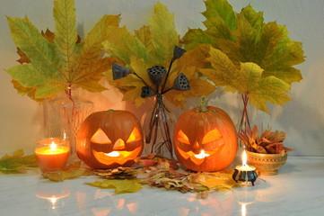 Halloween still life with pumpkins