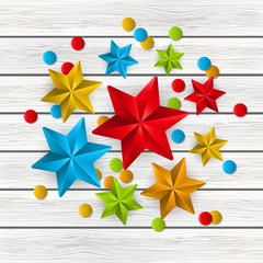 Christmas starry decorations on wooden background