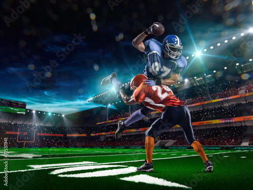 American football player in action at game time