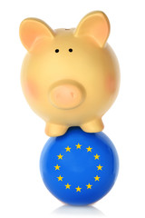Piggy bank balancing on blue ball with European flag