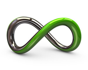 Green and silver infinity symbol