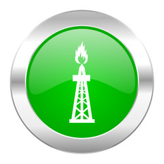 gas green circle chrome web icon isolated
