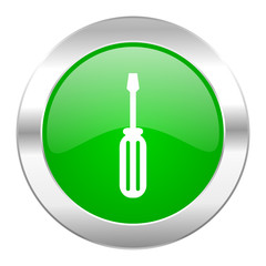 tools green circle chrome web icon isolated