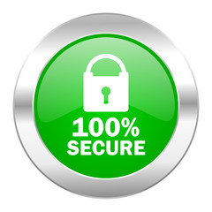 secure green circle chrome web icon isolated