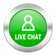 live chat green circle chrome web icon isolated