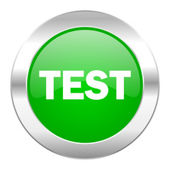 test green circle chrome web icon isolated