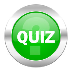 quiz green circle chrome web icon isolated