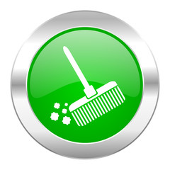 broom green circle chrome web icon isolated