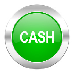 cash green circle chrome web icon isolated
