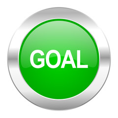 goal green circle chrome web icon isolated