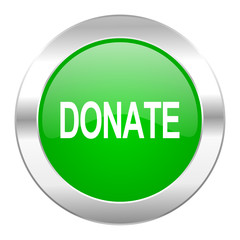 donate green circle chrome web icon isolated