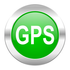 gps green circle chrome web icon isolated