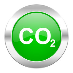 carbon dioxide green circle chrome web icon isolated