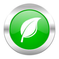 nature green circle chrome web icon isolated