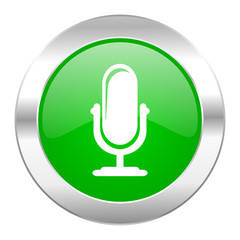microphone green circle chrome web icon isolated