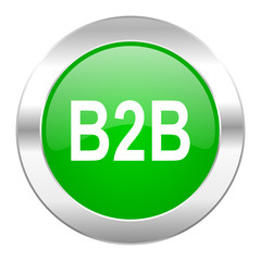 b2b green circle chrome web icon isolated