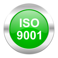 iso 9001 green circle chrome web icon isolated