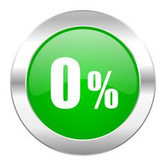 0 percent green circle chrome web icon isolated