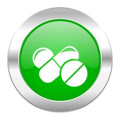 medicine green circle chrome web icon isolated
