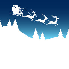Christmas Sleigh 3 Reindeers Santa Blue