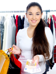 Woman happy from shopping