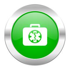 rescue kit green circle chrome web icon isolated