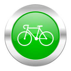 bicycle green circle chrome web icon isolated