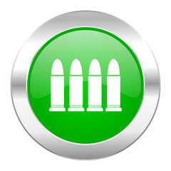 ammunition green circle chrome web icon isolated