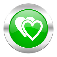 love green circle chrome web icon isolated