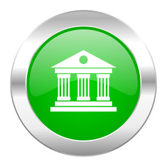 museum green circle chrome web icon isolated