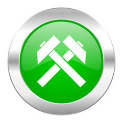 mining green circle chrome web icon isolated
