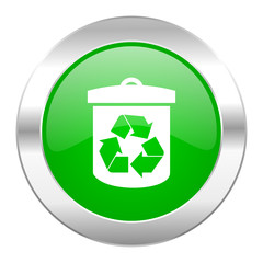 recycle green circle chrome web icon isolated