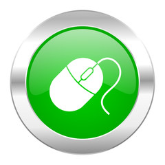 mouse green circle chrome web icon isolated
