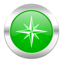 compass green circle chrome web icon isolated
